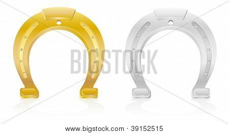 Gold And Silver Horseshoe Talisman Charm Illustration