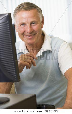 Senior Man On Computer