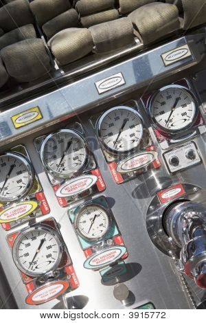 Close Up Fire Engine Dials