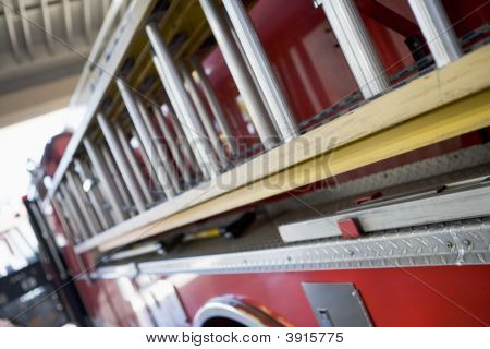 Close Up Of Fire Engine Ladders