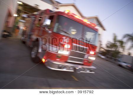 Fire Engine Travelling At Speed