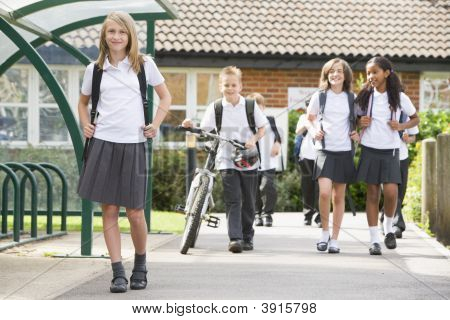 Children Leaving School For The Day