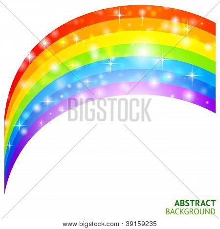 Vector background with rainbow and lucky clover