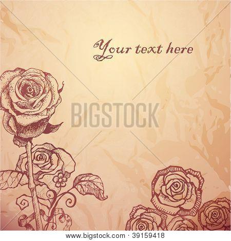 Vintage sketched flowers background