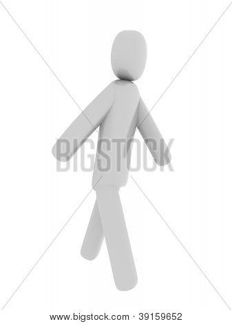 Gray man walking