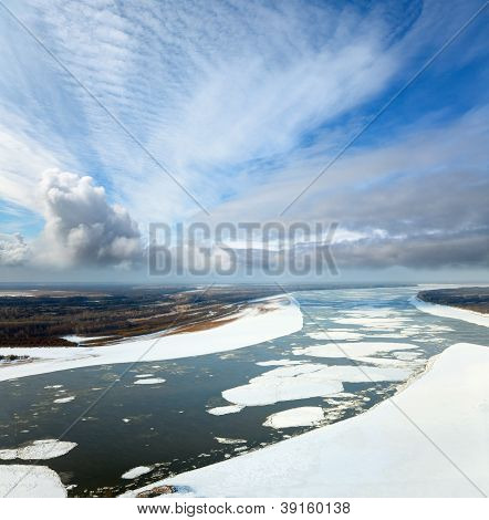 Great River With Floating Ice Floes