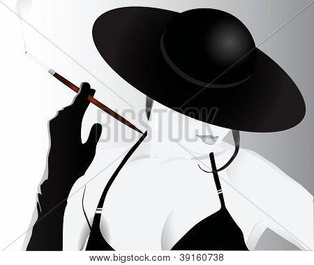 Lady Smoking A Cigarette