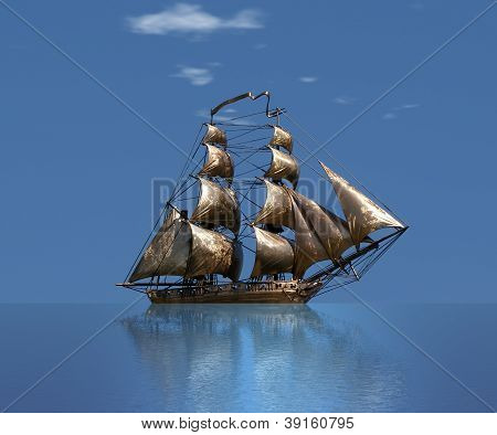 Sailing Ship  Under Full Sail - Russian 18-gun Brig Mercury Of Black Sea Fleet