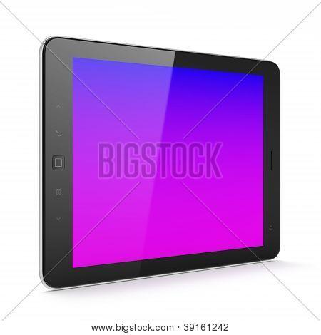Pc de la tableta hermosa de negro sobre fondo blanco