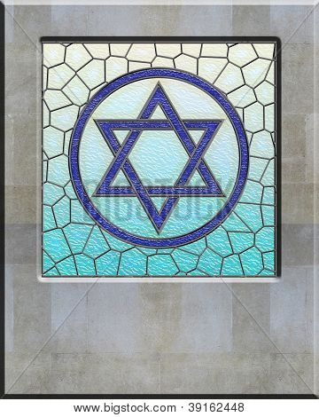 Jewish Shield Of David On Stained Glass Window