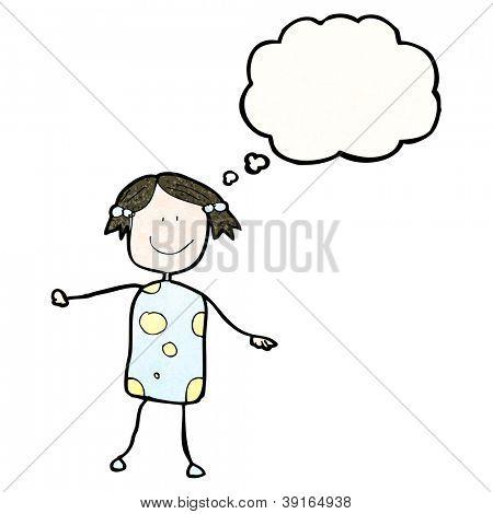 Kinderzeichnung Mädchens mit Gedanken-Blase