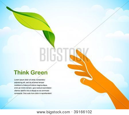 Think green - background with two hands