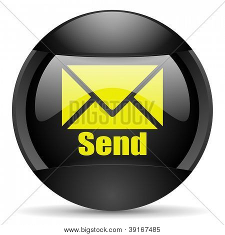 send round black web icon on white background
