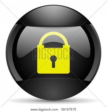 protect round black web icon on white background