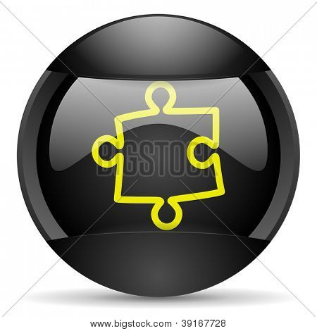 puzzle round black web icon on white background