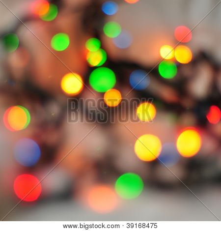 Abstract Holiday Background, Christmas Lights In Bright Colors