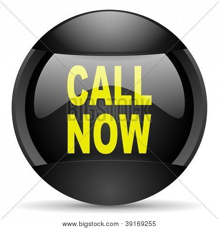 call now round black web icon on white background