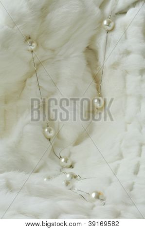 Texture Rabbit Fur With Pearls, Magnificent White Background