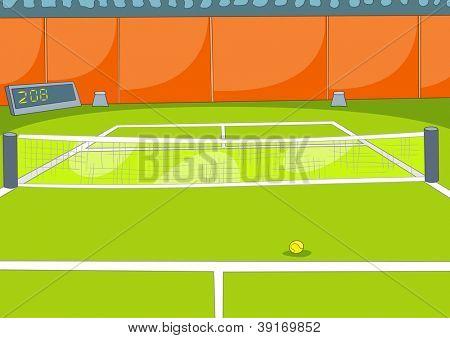Tennis Court. Vector Illustration. Cartoon Background. EPS 10.