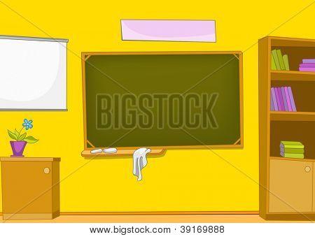 Classroom with Blackboard and School Staff. Vector Cartoon  Background.