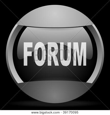 forum round gray web icon on black background