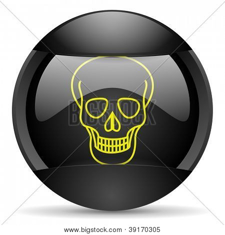 skull round black web icon on white background