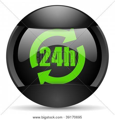 24h round black web icon on white background