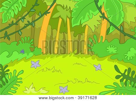 Jungley Glade. Cartoon Background. Vector Illustration EPS 10.