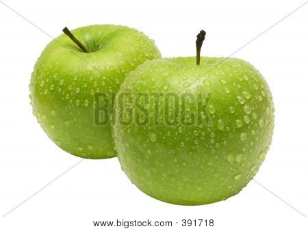Two Apples Side By Side W/ Path