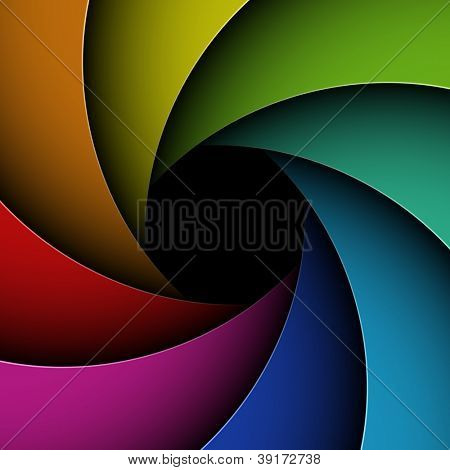 Colorful shutter aperture. Vector.