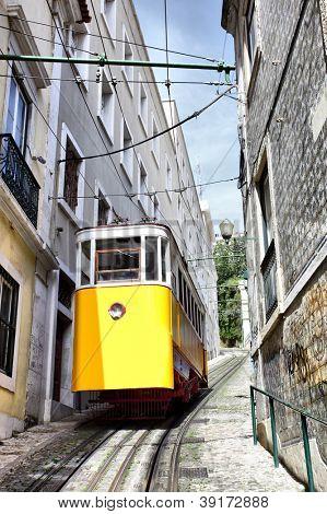 Funicular in Lisbon, Portugal  (Elevador do Lavra)
