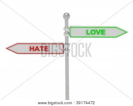 """Signs With Red """"hate"""" And Green """"love"""""""