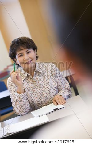 Adult Student In Class With (Selective Focus)