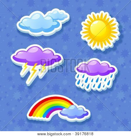 Colorful weather icon set