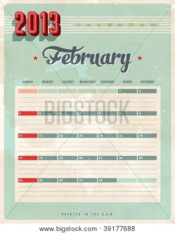Vintage 2013 Calendar - February - Vector EPS10. Grunge effects can be easily removed for a brand new, clean sign.