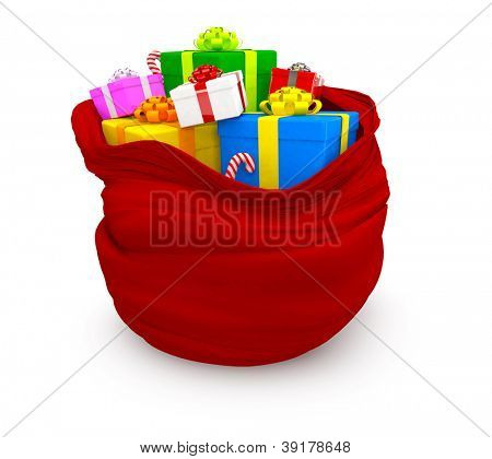 3D Christmas sack of gifts - isolated over a white background