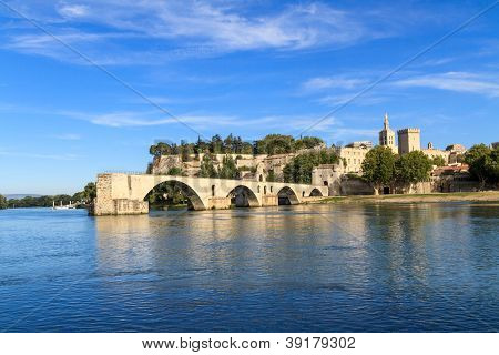 Avignon Bridge With Popes Palace, Pont Saint-b�nezet, Provence, France