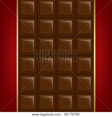 Chocolate Background With Golden Line With Gradient Mesh, Vector Illustration