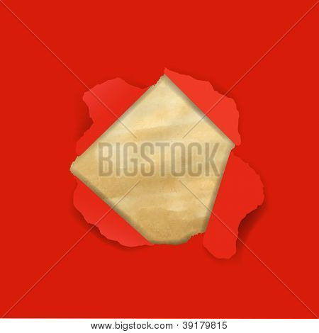 Red Torn With Old Paper With Gradient Mesh, Vector Illustration