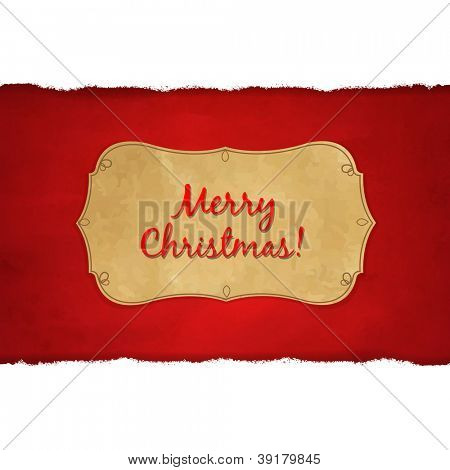Rip White Paper And Dark Red Christmas Background With Gradient Mesh, Vector Illustration