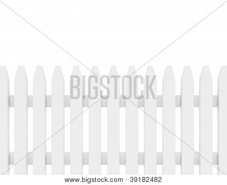 3D Render Of A White Picket Fence
