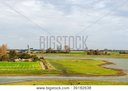 Dutch landscape on Schouwen-Duiveland at Zeeland