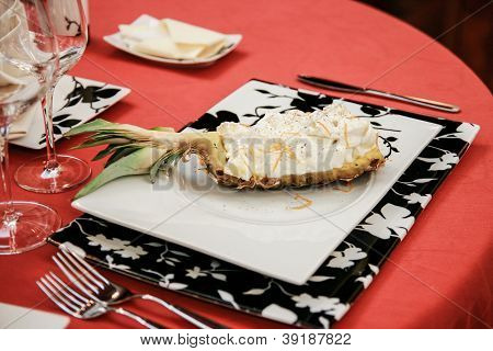 Delicious Pineapple Dessert With Cream And Chocolate