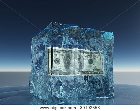 One hundred dollar bill frozen in ice