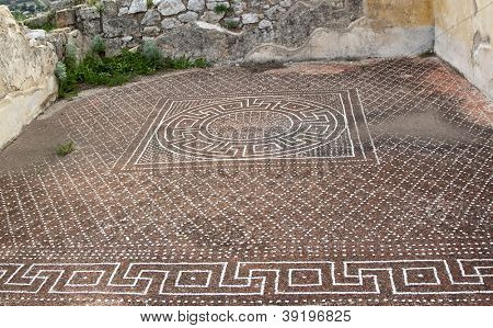 Ancient floor in Solunto archaeological park, Sicily