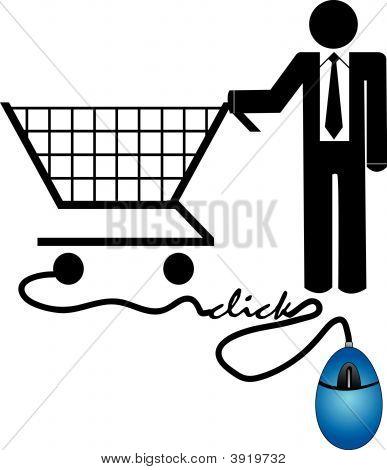Hombre de negocios, compras en línea.