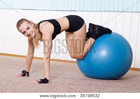 Fitness Woman Doing Exercises For Muscle Press