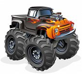 stock photo of monster-truck  - Vector Cartoon Monster Truck - JPG