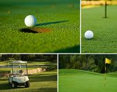 stock photo of caddy  - Various golf image collage of white golf ball on putting green next to hole golf cart and flag - JPG
