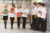 pic of hair integrations  - Secondary school students in a school hallway - JPG